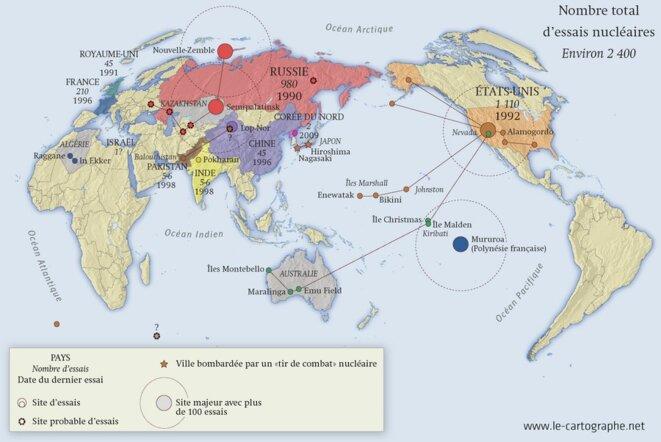 Carte des essais nucléaires dans le monde © le cartographe.net