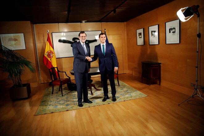Mariano Rajoy y Albert Rivera el 3 de agosto de 2016 en Madrid. © Susana Vera - Reuters