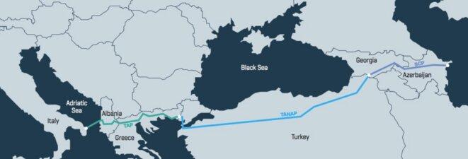 Les trois tronçons du Corridor gazier sud-européen (carte: Bank Watch)