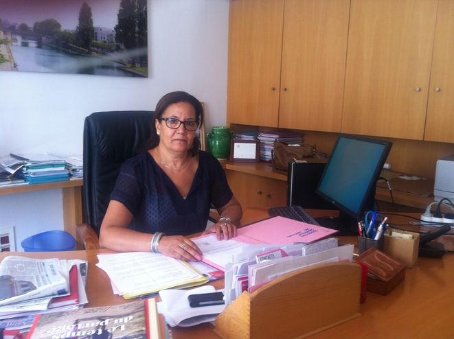 Aubervilliers mayor Mériem Derkaoui in her town hall office. © AD