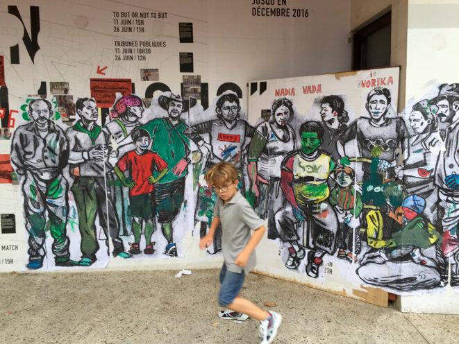 Fresque de Damien Roudeau - Montreuil 19 août 2016 © Gilles Walusinski
