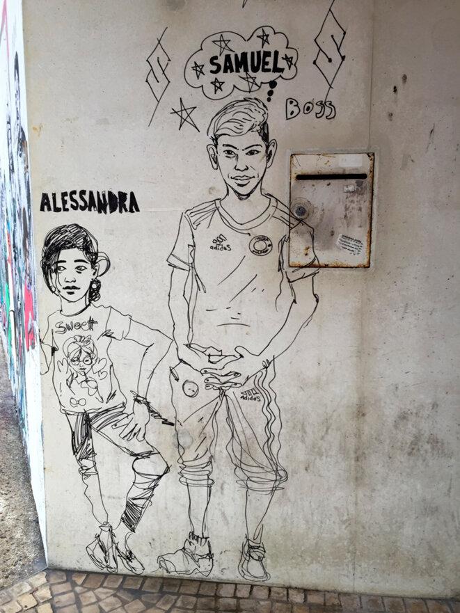 Alessandra et Samuel - dessin de Damien Roudeau -Montreuil 19 août 2016 © Gilles Walusinski