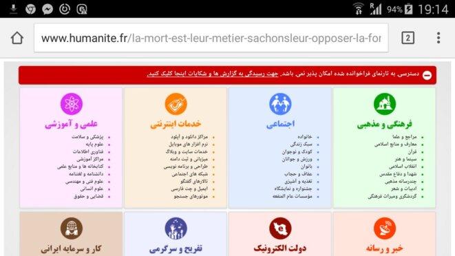 l'Huma censurée en Iran © François Munier, capture d'écran