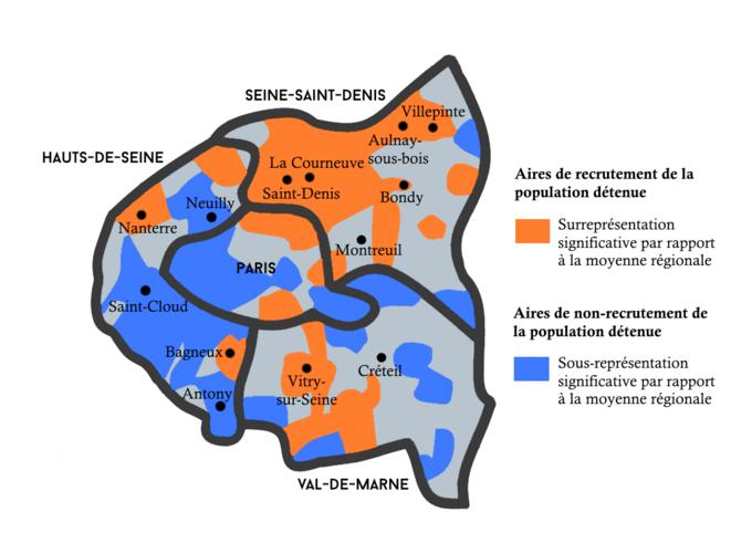 Aires de recrutement et de non-recrutement de la population détenue à Paris et dans la petite couronne d'Île-de-France © Données : Lucie Bony / Graphisme : OIP-SF