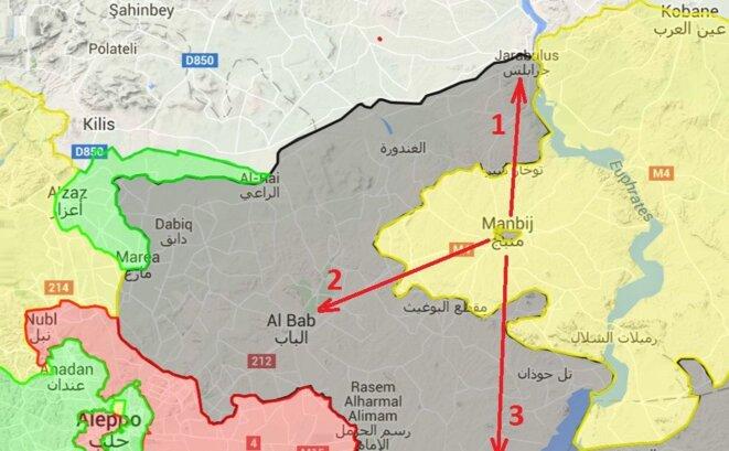 En vert: les rebelles islamistes et djihadistes; en rouge: le régime syrien; en noir: Daech; en jaune: les FDS