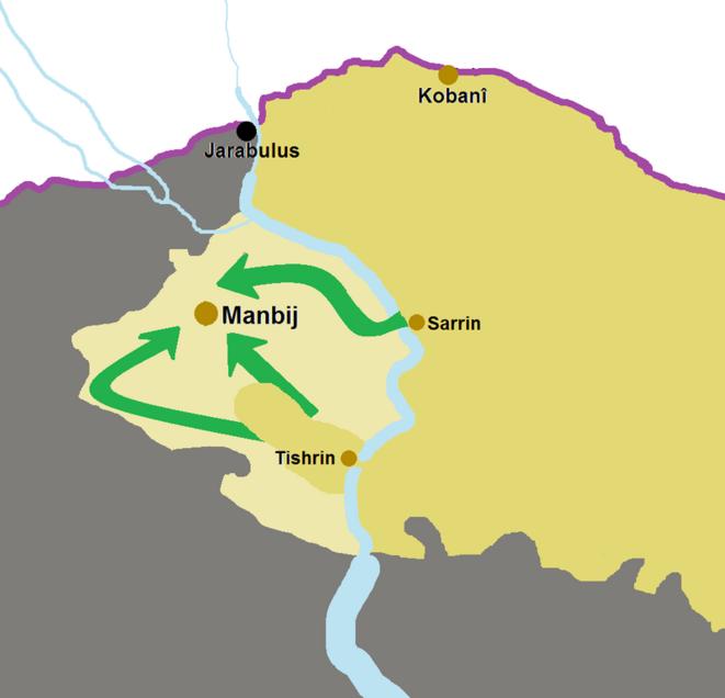 Carte simplifié de la bataille de Manbij, Source wikipédia