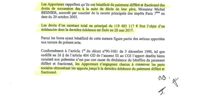 Document établi et signé le 5 septembre 2007 par Jean-Michel, Emmanuel et Marie Besnier. © DR