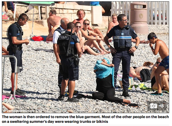 The Daily Mail report of the photos of a woman in headscarf intercepted by police in Nice this week caused outrage across the social media.