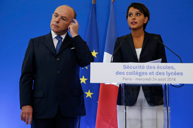 School security: interior minister Bernard Cazeneuve and education minister Najat Vallaud-Belkacem. © Reuters