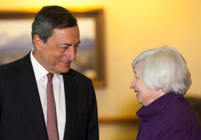 Mario Draghi, président de la BCE et Janet Yellen, présidente de la Fed à Jackson Hole en 2014 © Reuters