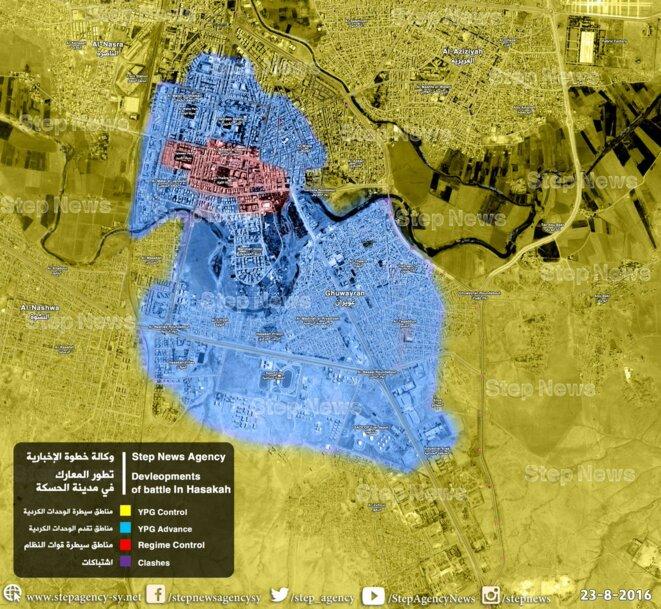En bleue les gains des YPG/YPJ, en rouge se qui reste de présence symbolique du régime dans la ville
