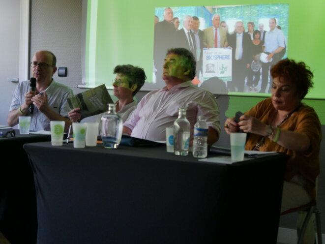 Lors du bilan des sénatrices et sénateurs écologistes. De gauche à droite : André Gattolin, Corinne Bouchoux, Jean Desessard et Esther Benbassa. © Guillaume Krempp