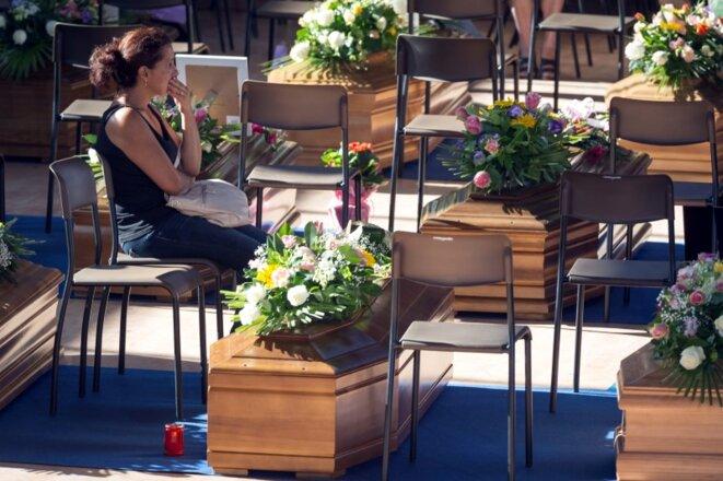 Funérailles dans la commune d'Ascoli Piceno, le 27 août 2016. © Reuters