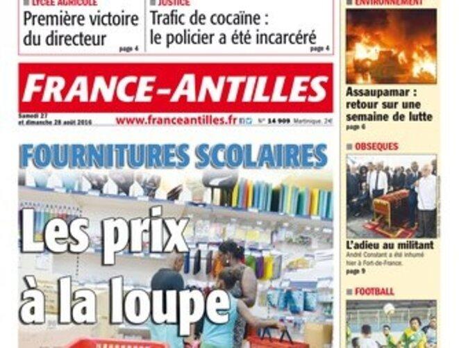 """La une de """"France Antilles"""", dernier pré carré du groupe Hersant en France © France Antilles"""