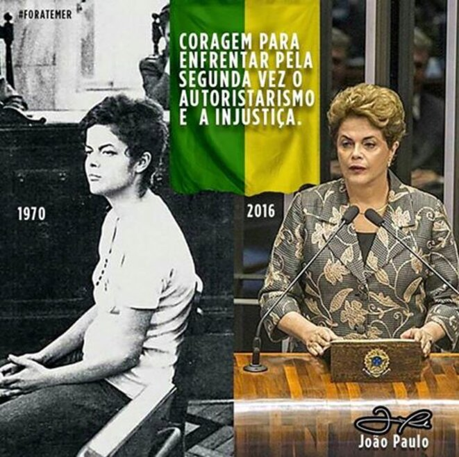 Montage sur les réseaux sociaux. Dilma Rousseff, jugée par les militaires en 1970, jugée par les sénateurs aujourd'hui.