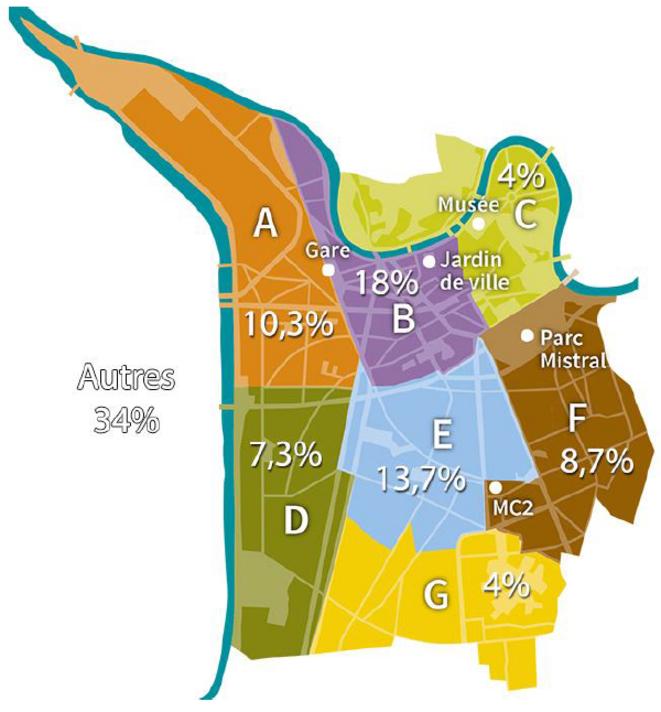 Carte de répartition géographique des participants à Nuit Debout Grenoble - Enquête Nuit Debout Grenoble – Camille Dantec et Thomas SIMON - 2016