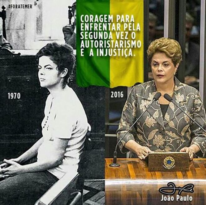 Montaje difundido en las redes sociales. Dilma Rousseff, juzgada por los militares en 1970, hoy juzgada por los senadores.