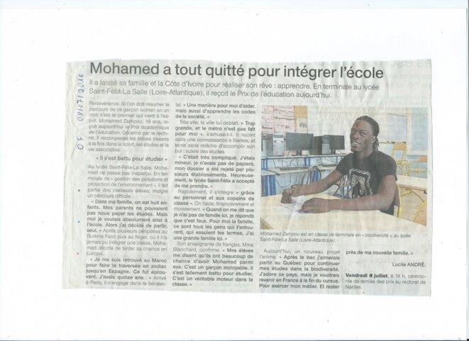 Article de Ouest France, 8 juillet 2016