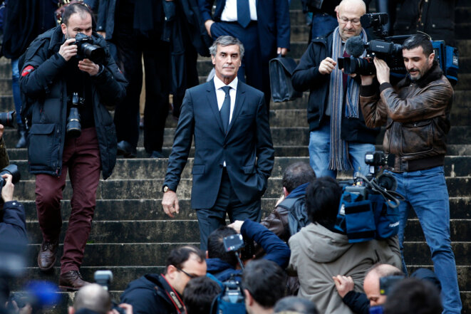 On trial: Jérôme Cahuzac, in February 2016, on the steps of the court in Paris; the hearing was postponed until September. © Reuters