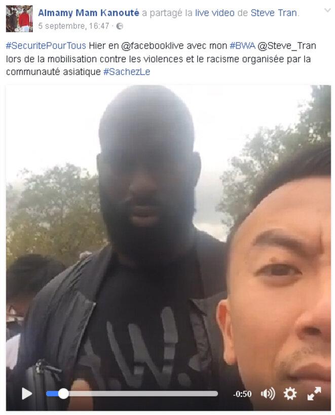 Almamy Mam Kanouté et Steve Tran, Place de la République le 4 septembre, mobilisés contre les violences et le racisme © Steve Tran