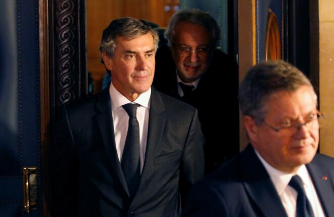 Jérôme Cahuzac (centre) at his trial in September. © Reuters