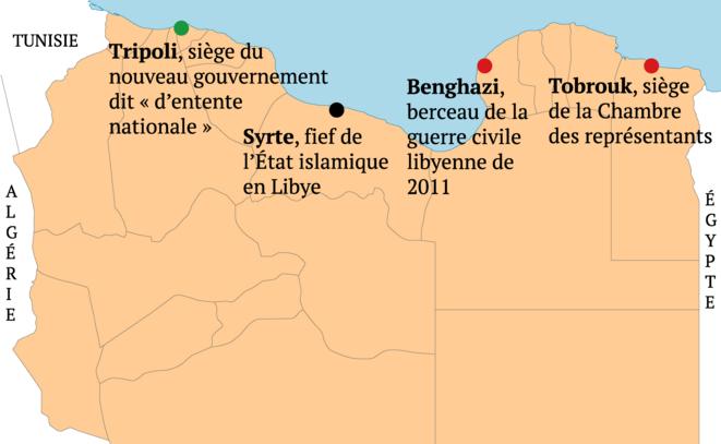 Carte de la Libye, 2016. © Donatien Huet/Mediapart