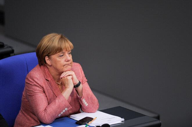 6 septembre 2016, la chancelière Angela Merkel au Bundestag, Berlin. © Stefanie Loos / Reuters