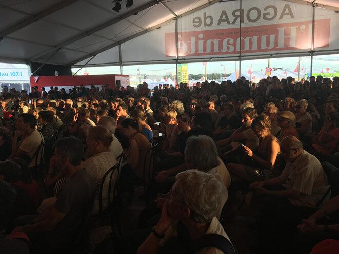 L'Agora de l'Humanité. La tente a vu défiler quatre candidats à la présidentielle samedi © CG