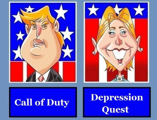 Trump et Clinton, personnages de jeu vidéo © D.R.