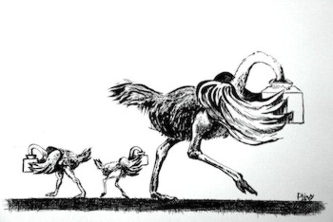 dessin refusé en 1981 par Le quotidien de Paris où je travaillais. © POL