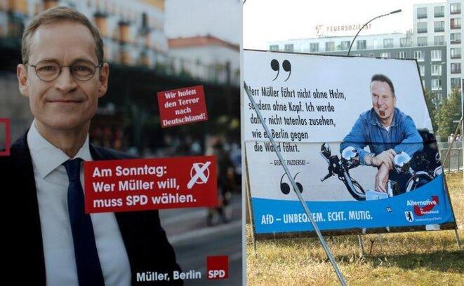 Michael Müller, le maire SPD sortant de Berlin, et son adversaire de l'AfD, Georg Pazderski. © Reuters