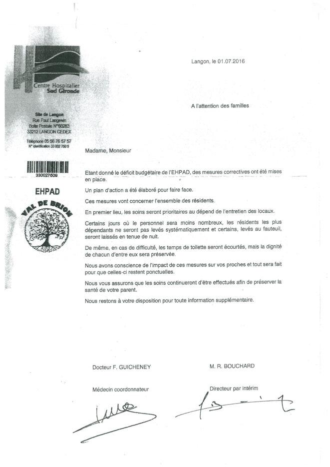 La lettre envoyée aux familles des résidents du Val de Brion.