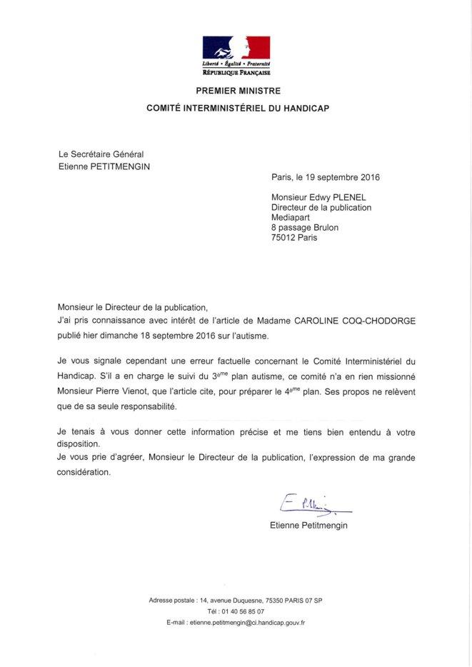 Lettre du Comité Interministériel du Handicap à Mediapart