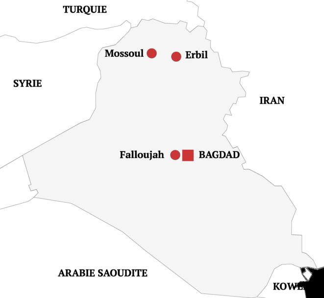 Carte de l'Irak en 2016 © Donatien Huet/Mediapart