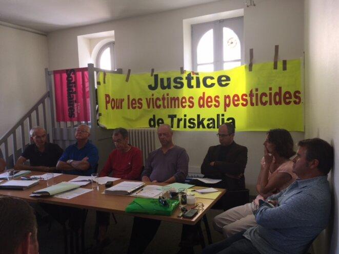 Conférence de presse d'anciens salariés de Triskalia, à Rennes, le 9 septembre 2016 (JL).