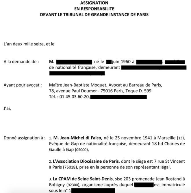 L'en-tête de l'assignation au TGI de Paris de Mgr di Falco, que Mediapart a pu consulter