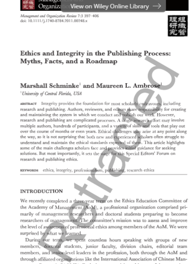 Duplication des publications scientifiques. L'article rétracté de Marshall Schminke © @Ethics&Integrity