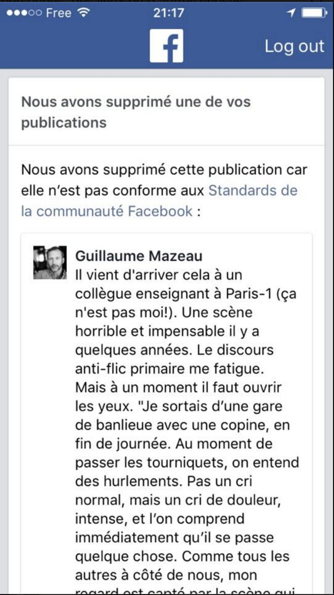 Le post Facebook de Guillaume Mazeau a été supprimé par Facebook