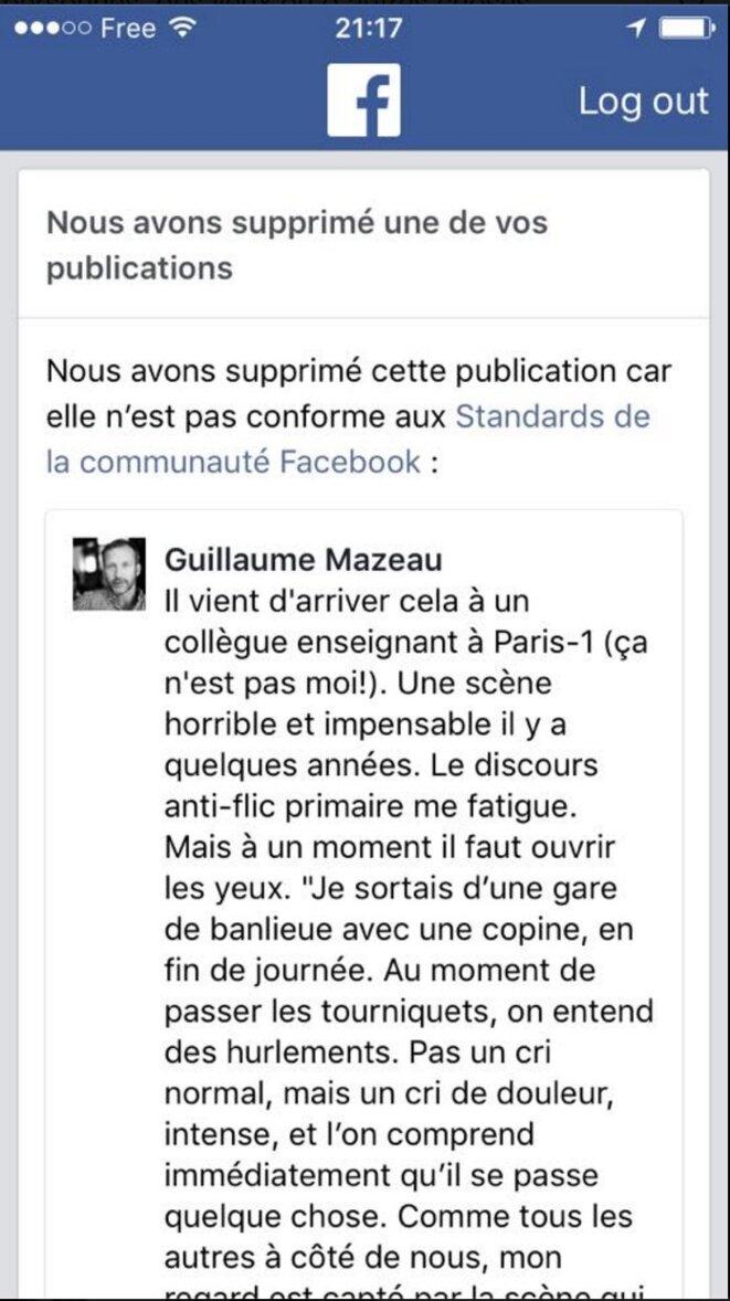 Le post Facebook de Guillaume Mazeau a été supprimé par Facebook
