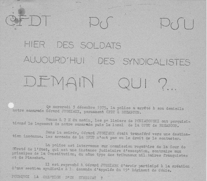Tract de décembre 1975, coll. pers. YF