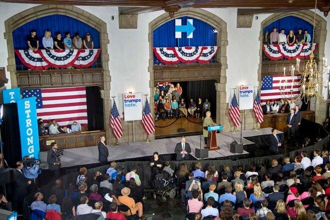 Hillary Clinton en la universidad de Temple en Filadelfia, el 19 de septiembre.