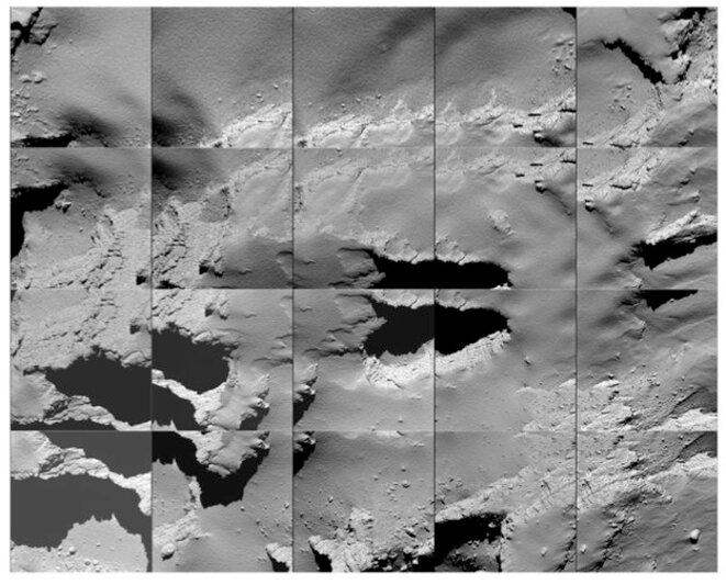 Le site d'atterrissage de Rosetta sur la comète Tchouri, photographié par la sonde pendant sa descente © ESA/Rosetta/MPS for OSIRIS Team