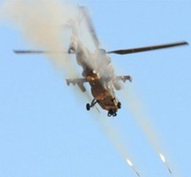 Hélicoptère en action dans la région du Pool, pour le pogrom
