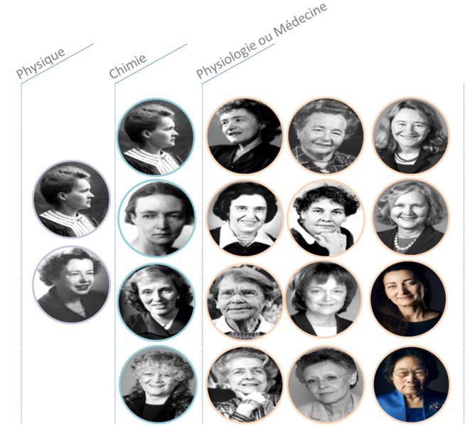 "Femmes ""Nobelles"" de 1901 à 2016 © serayamaouche"
