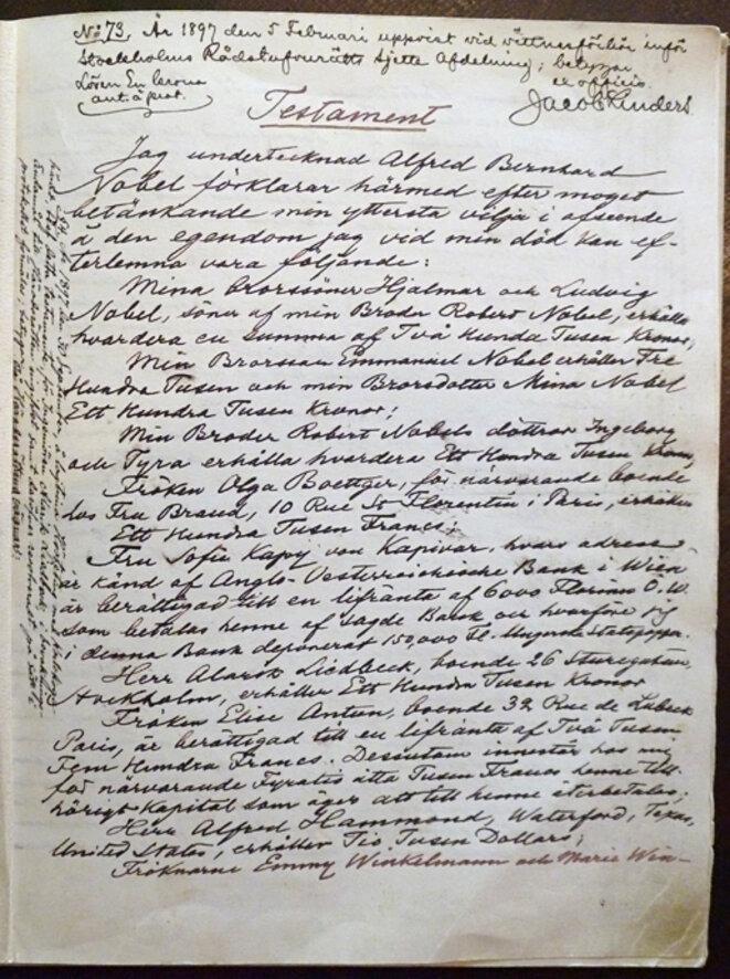 Le testament d'Alfred Nobel (https://www.nobelprize.org/alfred_nobel/will/will-full.html)