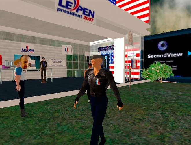 El FN fue el primer partido europeo que participó en el mundo virtual Second Life, creó su propio espacio el 5 de diciembre de 2006.