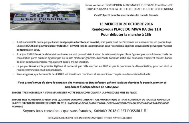 L'appel à la marche du 26 octobre.
