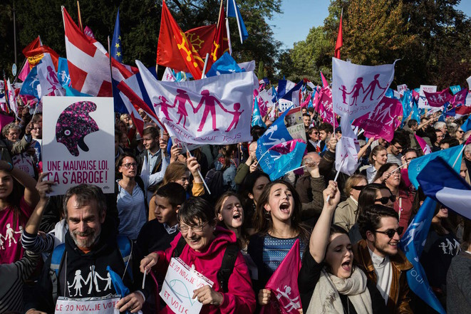 Anti-gay marriage demonstrators on the streets of Paris, Sunday October 16th. © Nicolas Serve