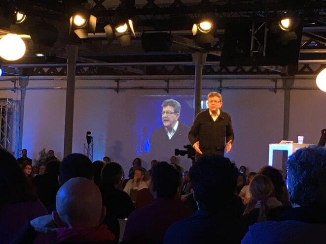 Jean-Luc Mélenchon dimanche 16 octobre à Lille lors de la convention nationale de la France insoumise © CG
