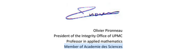 Signature d'Olivier Pironneau sur une lettre envoyée à la revue PLoS ONE en 2013.